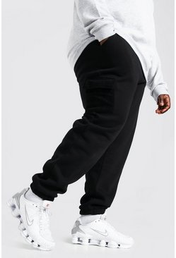 Black Plus Size Cargo Jogger With Polar Fleece Pocket