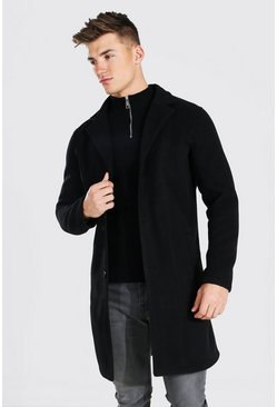 Single Breasted Wool Mix Overcoat, Black