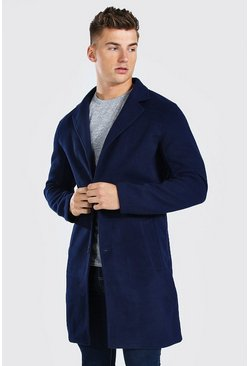Single Breasted Wool Mix Overcoat, Navy
