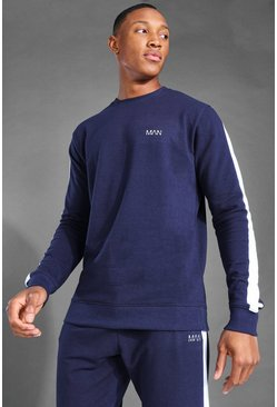 Navy MAN Active Side Stripe Sweat