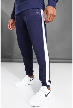 Navy MAN Active Side Stripe Joggers