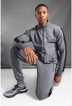 Charcoal MAN Active Funnel Neck Side Stripe Tracksuit