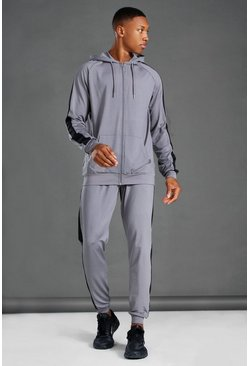 Charcoal MAN Active Side Stripe Zip Hooded Tracksuit