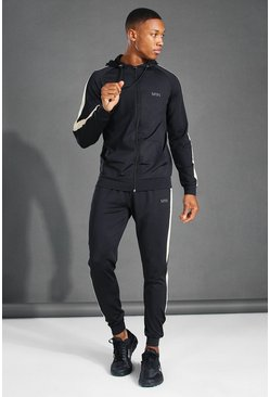 Black MAN Active Side Stripe Zip Hooded Tracksuit