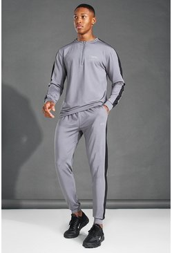Charcoal MAN Active Crew Neck Zip Side Stripe Tracksuit