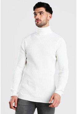 White Regular Fit Ribbed Roll Neck Sweater