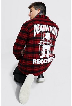 Red Oversized Death Row License Check Shirt