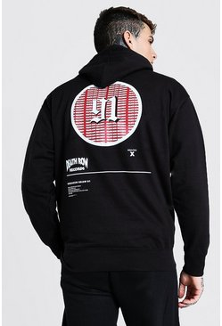 Black Oversized Death Row 91 License Hoodie