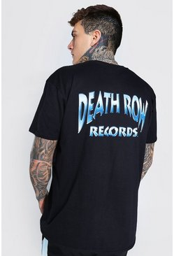 Black Oversized Death Row Front And Back License T-Shirt
