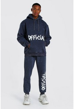 Charcoal Loose Fit Acid Wash Official Print Tracksuit