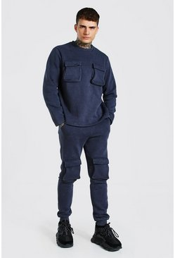 Charcoal Acid Wash Utility Sweater Tracksuit