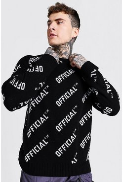 Black Official Crew Neck Oversized Knitted Sweater