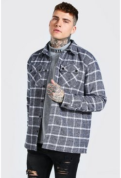 Grey Quilted Utility Check Overshirt