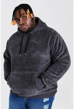 Charcoal Plus Size Two Tone Borg Hoodie