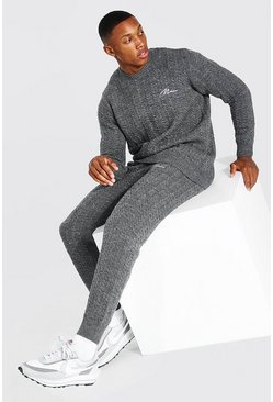 Grey marl Cable Knitted Jumper & Jogger Set