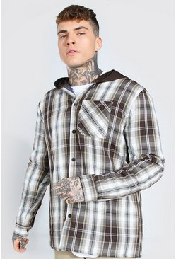 Quilted Utility Check Overshirt With Hood, Brown