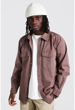Choc brown Long Sleeve Twill Utility Overshirt