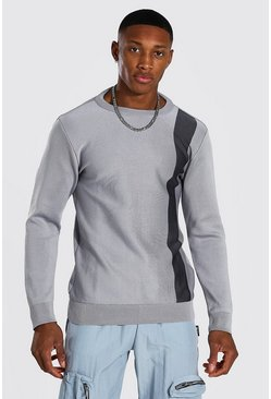 Light grey Muscle Fit Stripe Knitted Jumper