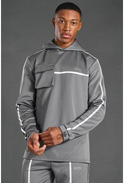 Grey MAN Active Reflective Over The Head Hoodie