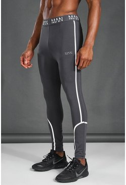 Grey MAN Active Reflective  Compression Leggings