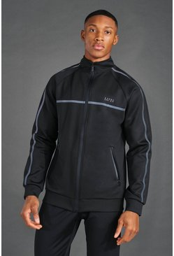 Black MAN Active Reflective Funnel Neck Track Top