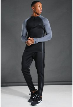 Black Man Active Reflective Muscle Fit Tracksuit