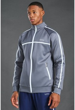 Grey MAN Active Reflective Funnel Neck Track Top