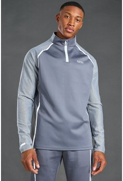 Grey MAN Active Reflective Raglan Funnel Neck Top