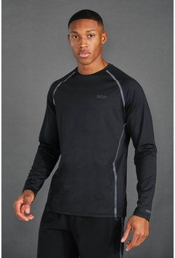 Black MAN Active Reflective Raglan Long Sleeve T Shirt