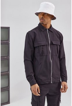 Black Tailored Harrington Cargo Jacket