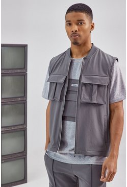 Charcoal Tailored Utility Vest