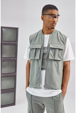 Olive Tailored Utility Vest