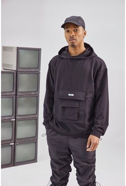Black Utility Pocket Over The Head Hoodie