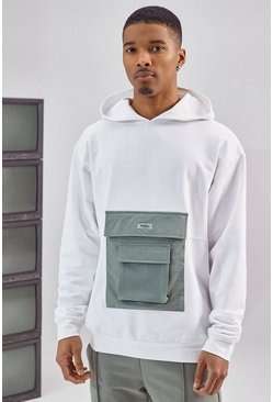 White Utility Pocket Over The Head Hoodie