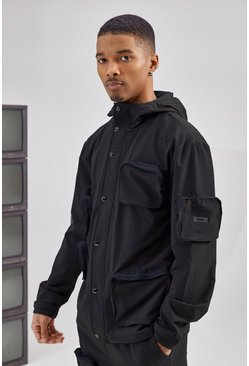 Black 3D Pocket Cargo Parka Jacket