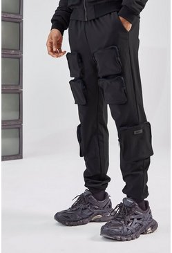 Black 3D Pocket Cargo Pants