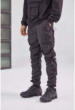 Black Ruched Leg Cargo Pant