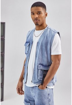 Blue Utility Denim Vest Jacket