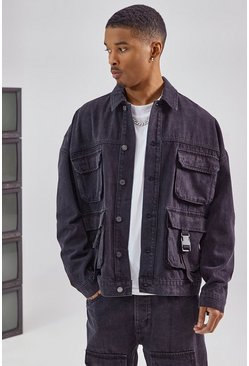 Black Utility Cargo Pocket Denim Jacket
