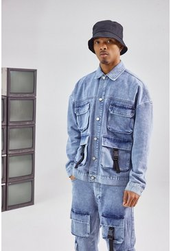 Blue Utility Cargo Pocket Denim Jacket