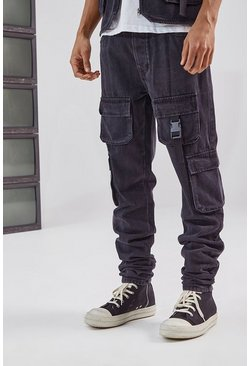 Black Utility Cargo Pocket Slim Fit Jean
