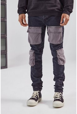 Black Stacked Contrast Denim Cargo Pocket Skinny Jean