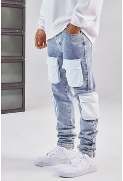 Blue Stacked Contrast Denim Cargo Pocket Skinny Jean