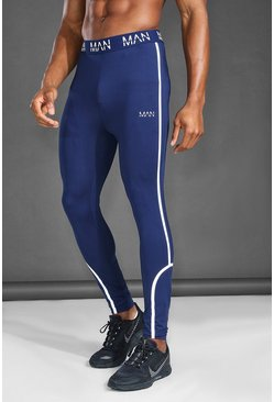 Navy MAN Active Reflective Compression Leggings