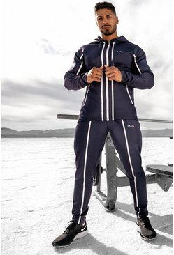Navy MAN Active Reflective Hooded Zip Through Tracksuit