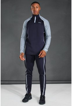 Navy MAN Active Reflective Raglan Funnel Neck Tracksuit