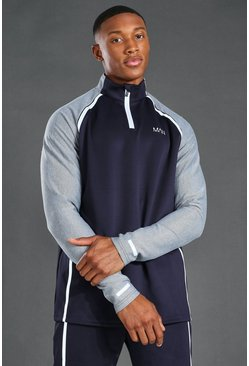 Navy MAN Active Reflective Raglan Zip Funnel Neck Top