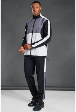 Black MAN Active Reflective Colour Block Shell Tracksuit