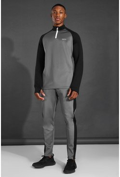 Charcoal MAN Active Colour Block Funnel Neck Tracksuit