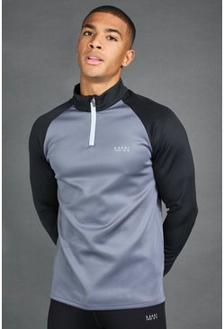 Charcoal MAN Active Raglan Colour Block Funnel Neck Top